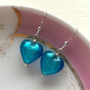 Earrings with turquoise (blue) Murano glass small heart drops on silver or gold hooks