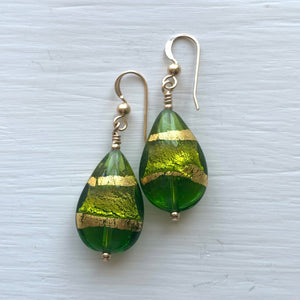 Earrings with shades of green and gold Murano glass pear drops on silver or gold hooks