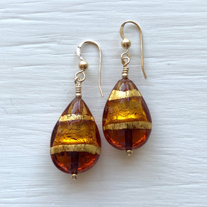 Earrings with shades of brown topaz (amber) Murano glass pear drops on silver or gold