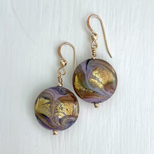 Earrings with byzantine purple and gold Murano glass lentil drops on silver or gold