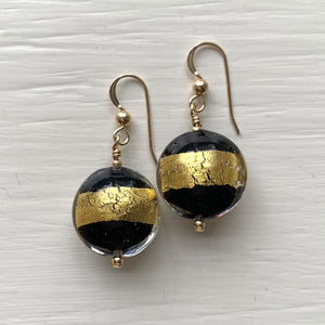 Earrings with black pastel and gold Murano glass medium lentil drops on silver or gold hooks