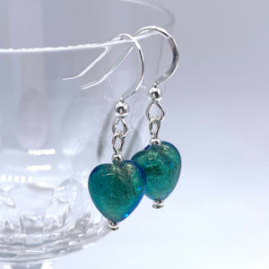 Earrings with sea green (jade, teal) Murano glass mini heart drops on silver or gold hooks