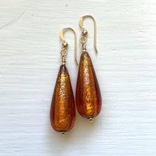Earrings with brown topaz Murano glass long pear drops on silver or gold hooks