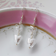 Earrings with clear crystal and white gold Murano glass mini hearts and Swarovski© butterfly drops