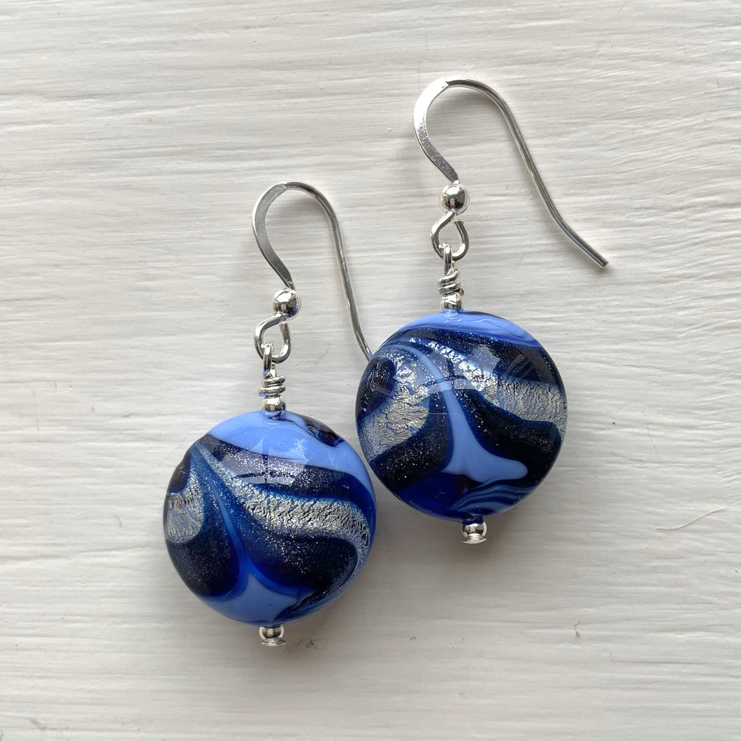 Earrings w/ periwinkle, dark blue, white gold Murano glass medium lentil drops on silver or gold