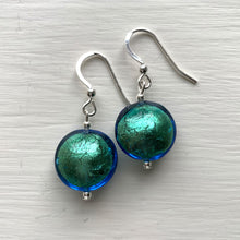 Earrings with sea green (jade, teal) Murano glass small lentil drops on silver or gold hooks