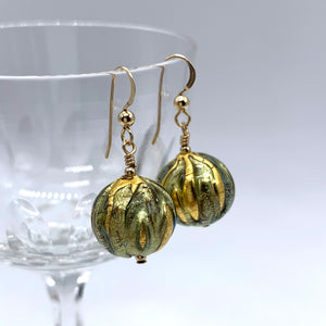 Earrings with blue appliqué over gold Murano glass small sphere drops on silver or gold