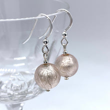 Earrings with champagne (peach, pink) Murano glass mini sphere drops on silver or gold hooks