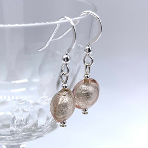 Earrings with champagne (peach, pink) Murano glass mini lentil drops on silver or gold hooks