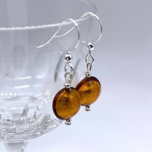 Earrings with brown topaz (amber) Murano glass mini lentil drops on silver or gold hooks