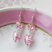 Earrings with candy stripe pink Murano glass mini heart and Swarovski© butterfly drops