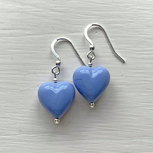 Earrings with periwinkle (blue) pastel Murano glass small heart drops on silver or gold hooks
