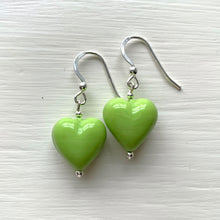 Earrings with light (pale) green pastel Murano glass small heart drops on silver or gold hooks