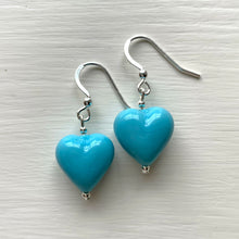 Earrings with light (pale) blue pastel Murano glass small heart drops on silver or gold hooks