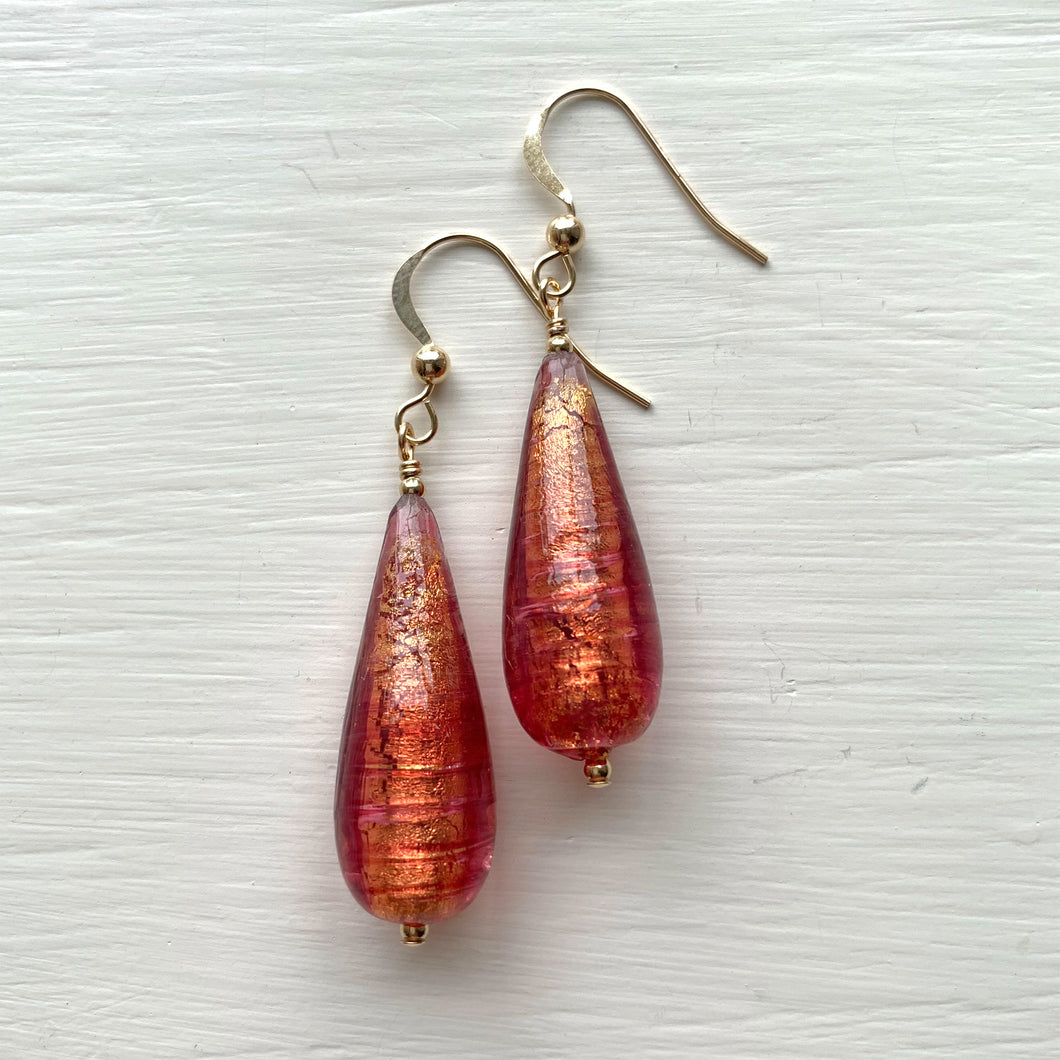 Earrings with burnt orange (rose pink and gold) Murano glass long pear drops on silver or gold