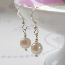 Pearl earrings with small freshwater natural white round pearl drops on silver or gold hooks