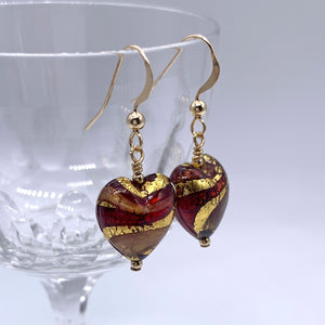 Earrings with red, gold and aventurine Murano glass small heart drops on silver or gold hooks