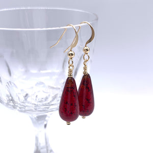 Earrings with red Murano glass short pear drops on silver or gold hooks