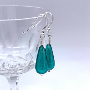 Earrings with teal (green, jade) Murano glass short pear drops on silver or gold hooks