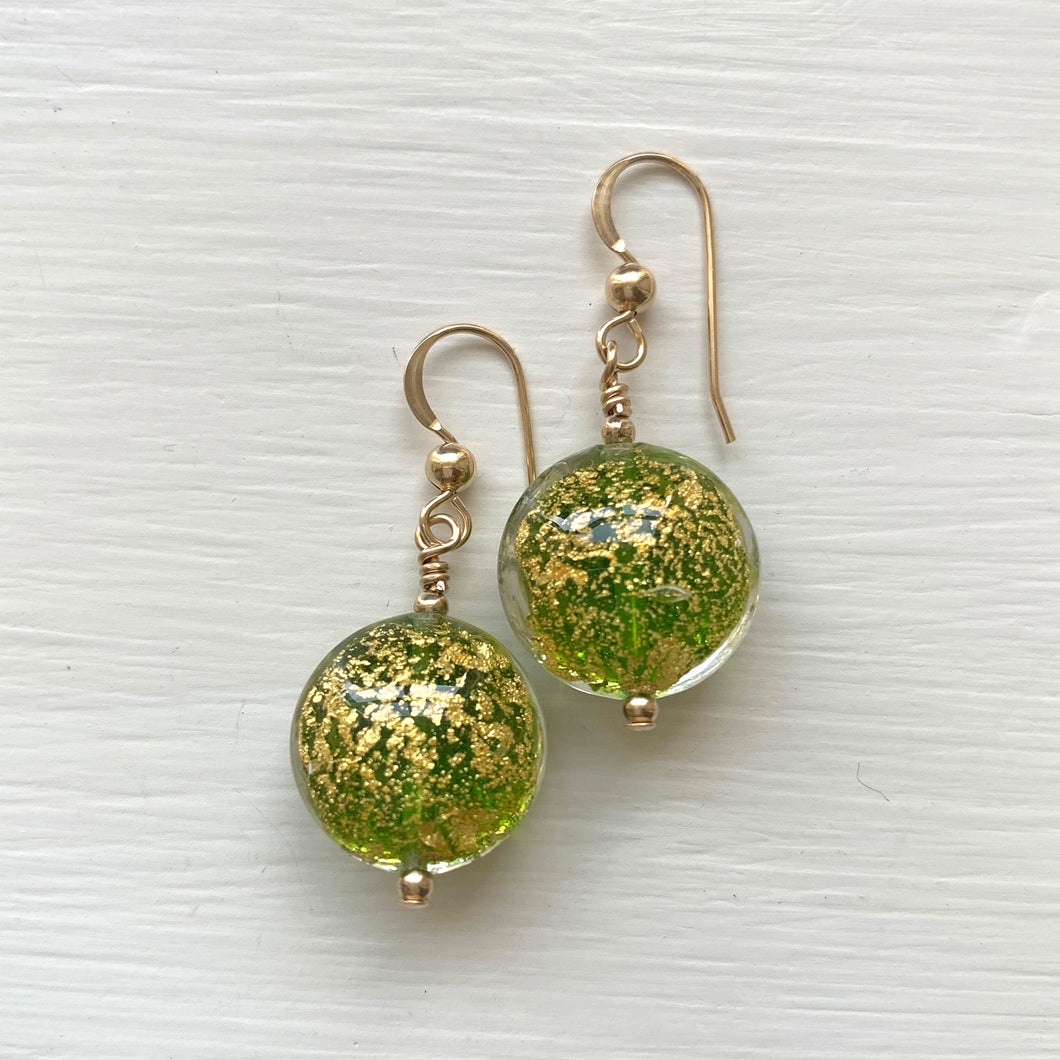 Earrings with green translucent and gold Murano glass lentil drops on silver or gold