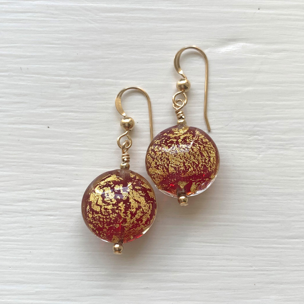 Earrings with red translucent and gold Murano glass small lentil drops on silver or gold hooks