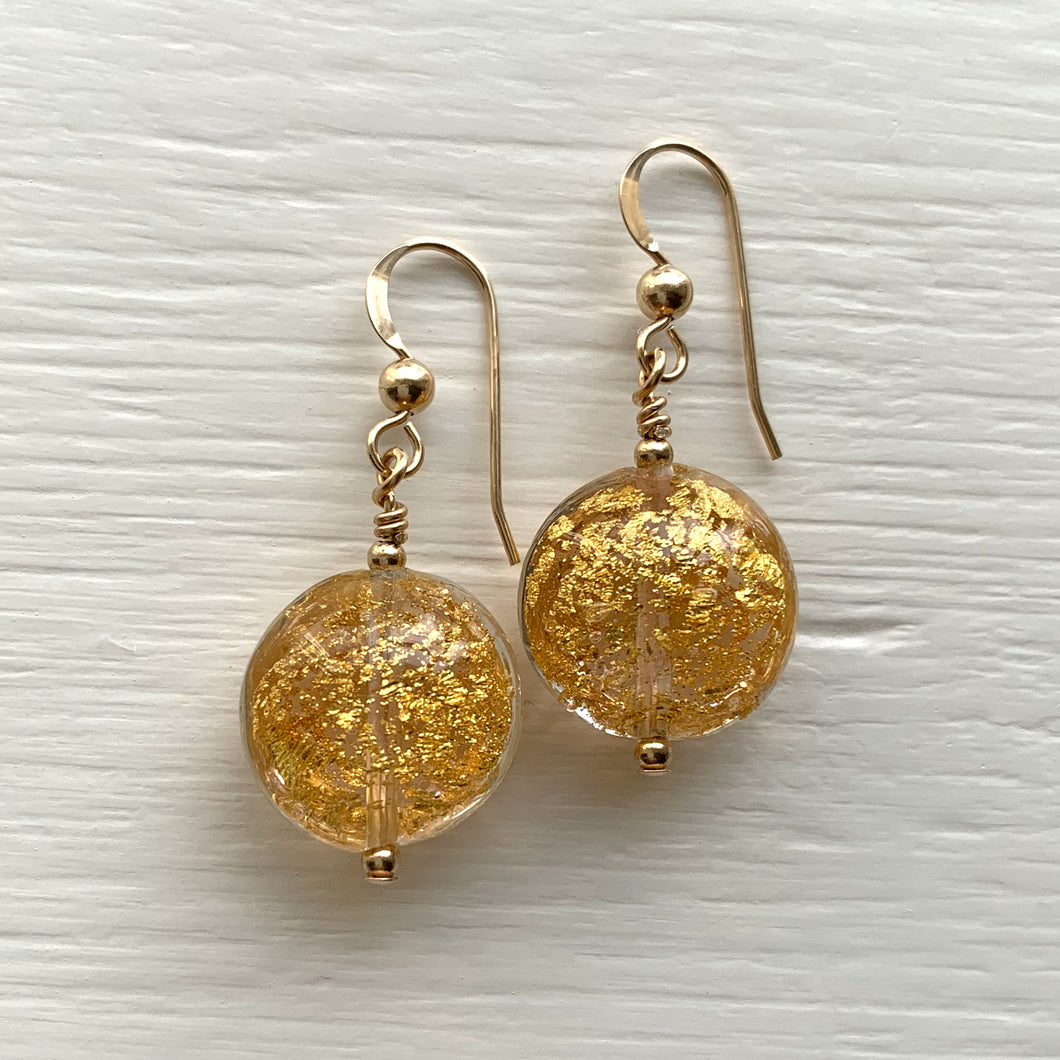 Earrings with clear crystal and gold crackle Murano glass small lentil drops on silver or gold hooks