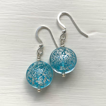 Earrings with light blue translucent and silver Murano glass lentil drops on silver or gold