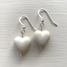Earrings with ivory (white) pastel Murano glass small heart drops on silver or gold hooks