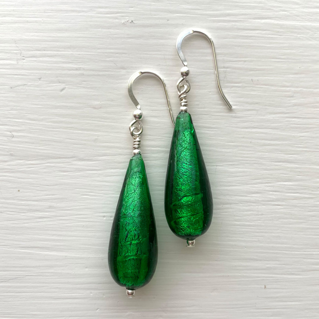 Earrings with dark green (emerald) Murano glass long pear drops on silver or gold hooks
