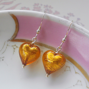 Earrings with gold topaz (amber) Murano glass small heart drops on silver or gold hooks