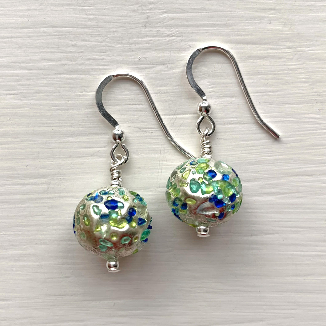 Earrings with speckled blues and greens Murano glass sphere drops on silver or gold