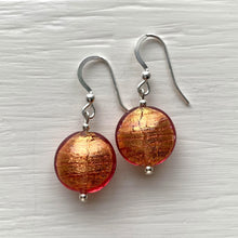 Earrings with burnt orange (rose pink & gold) Murano glass small lentil drops on silver or gold