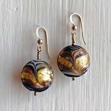 Earrings with byzantine grey and gold Murano glass medium lentil drops on silver or gold