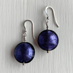 Earrings with purple velvet Murano glass medium lentil drops on silver or gold hooks