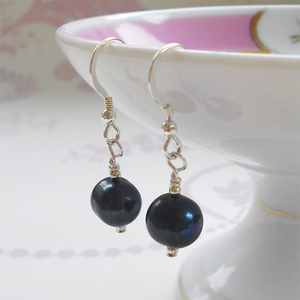 Pearl earrings with small freshwater natural black round pearl drops on silver or gold hooks