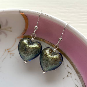 Earrings with blue and gold Murano glass small heart drops on silver or gold hooks