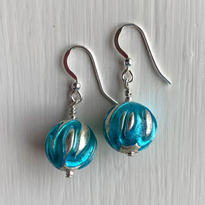 Earrings with turquoise (blue) appliqué over white gold Murano glass small sphere drops