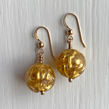 Earrings with gold over furrowed crystal Murano glass sphere drops on silver or gold