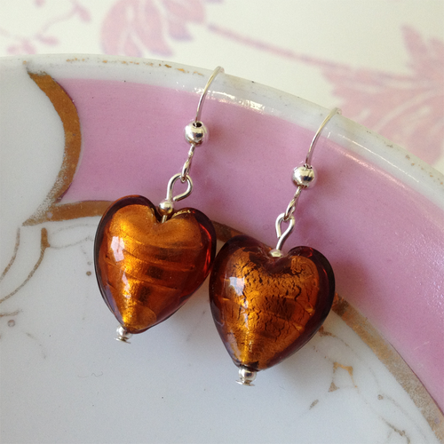 Earrings w/ brown topaz (amber) Murano glass small heart drops on Sterling Silver or 22 Carat gold vermeil hooks