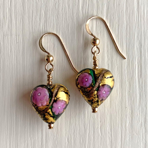 Earrings with purple roses, green and gold Murano glass heart drops on silver or gold