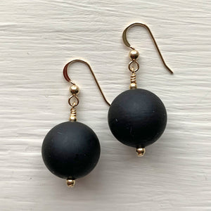 Earrings with matt black Murano glass small sphere drops on silver or gold
