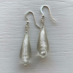 Earrings with clear crystal and white gold Murano glass long pear drops on silver or gold