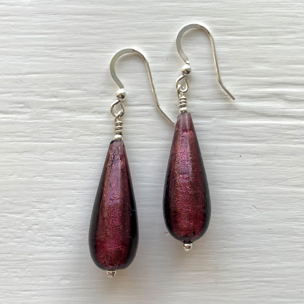 Earrings with dark amethyst (purple) Murano glass long pear drops on silver or gold hooks