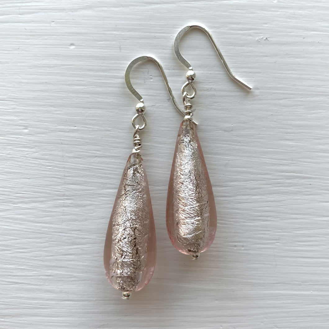 Earrings with champagne (peach, pink) Murano glass long pear drops on silver or gold hooks