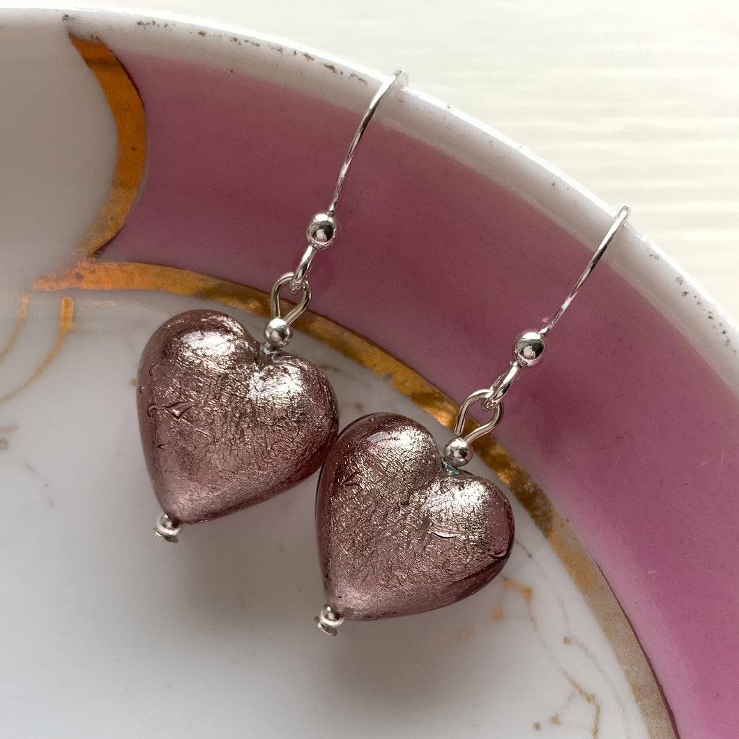 Earrings with light amethyst (purple) Murano glass small heart drops on silver or gold hooks