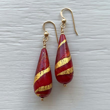 Earrings with red, red pastel and gold Murano glass long pear drops on silver or gold hooks