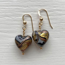 Earrings with byzantine grey and gold Murano glass heart drops on silver or gold hooks