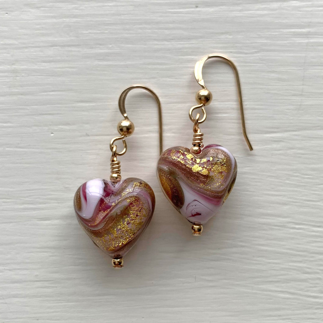 Earrings with byzantine pink and gold Murano glass heart drops on silver or gold hooks