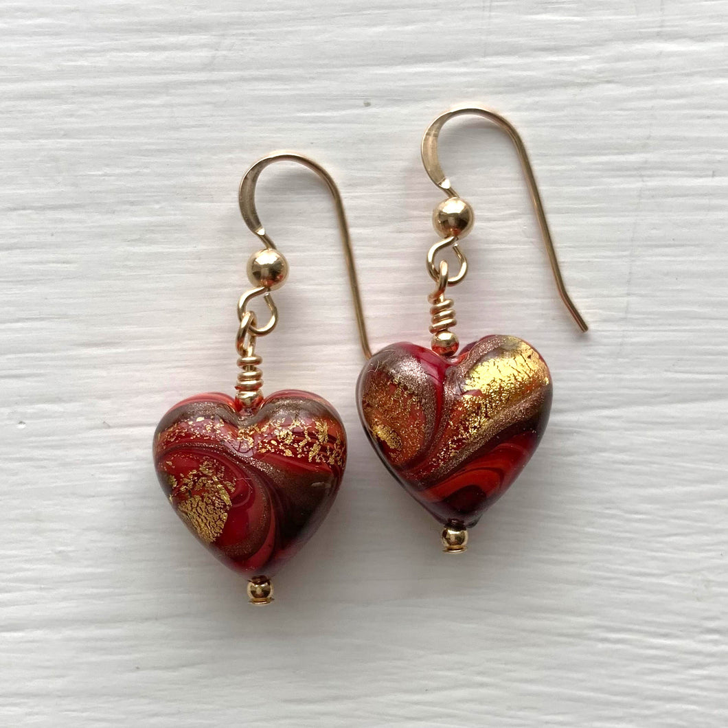Earrings with byzantine red and gold Murano glass heart drops on silver or gold hooks