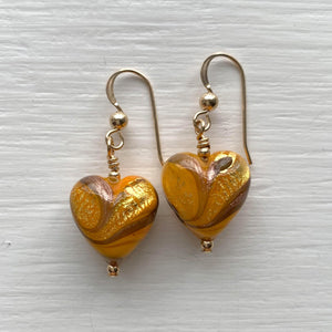 Earrings with byzantine yellow and gold Murano glass heart drops on silver or gold
